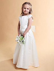 A-Line Princess Floor Length Flower Girl Dress - Satin Short Sleeves Jewel Neck with Ribbon by LAN TING BRIDE®
