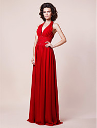 cheap -Sheath / Column V Neck Halter Floor Length Chiffon Mother of the Bride Dress 617 Beading Draping Pleats by
