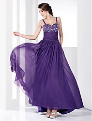 preiswerte -A-line Prinzessin Spaghetti Riemen Schatz Boden Länge Chiffon Prom Kleid mit Perlen von ts couture ®