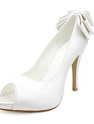 cetim superior stiletto toe calcanhar bombas / com sapatos peep casamento bowknot mais cores disponíveis