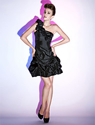 A-Line Princess One Shoulder Short / Mini Taffeta Holiday Dress with Flower by TS Couture®