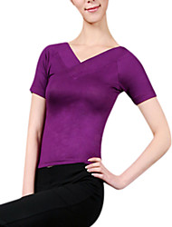 cheap -Women's V Neck Yoga Top - Sky Blue, Dark Fuchsia, Dark Purple Sports Top Yoga, Ballet, Pilates Short sleeves Activewear Lightweight, Antistatic, Breathable Stretchy
