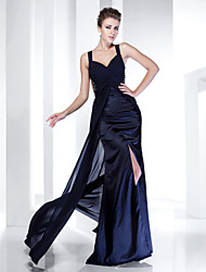 cheap -Sheath / Column Spaghetti Strap Sweep / Brush Train Chiffon / Satin Formal Evening / Black Tie Gala Dress with Split Front / Ruched by TS Couture® / Beautiful Back