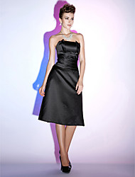 A-Line Strapless Knee Length Satin Cocktail Party Holiday Dress with Ruching by TS Couture®