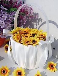 economico -bellissimo cesto di fiori da sposa con fiocco in raso cerimonia di nozze