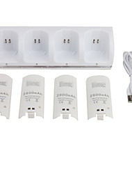 abordables -4 en 1 Station de charge + 4 Batteries 2800mAh pour Nintendo Wii (couleurs assorties)