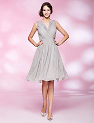 A-Line Princess V-neck Knee Length Chiffon Organza Cocktail Party Homecoming Dress with Draping Ruffles Side Draping by TS Couture®