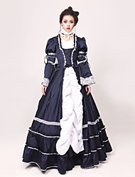 Victorian Rococo Costume Women's Party Costume Masquerade Ink Blue Vintage Cosplay Jazz Wool Long Sleeve Long Sleeves