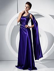 economico -Linea-A Monospalla Lungo Charmeuse (armaturato) Cocktail / Serata formale Vestito con Perline / Drappeggio di TS Couture®