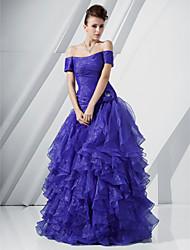 A-line prinzessin off-the-shoulder bodenlänge organza prom kleid mit blume von ts couture®