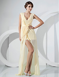 cheap -Sheath / Column V Neck Floor Length Asymmetrical Chiffon Formal Evening Dress with Sash / Ribbon Split Front Side Draping by TS Couture®
