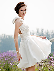 cheap -A-Line / Princess One Shoulder Short / Mini Taffeta Made-To-Measure Wedding Dresses with Ruched / Flower / Side-Draped by LAN TING BRIDE® / See-Through
