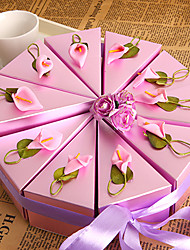 cheap -Round Square Pyramid Pearl Paper Favor Holder with Ribbons Printing Flower Favor Boxes - 10