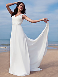 cheap -Sheath / Column V Neck Floor Length Chiffon Wedding Dress with Beading Sash / Ribbon by LAN TING BRIDE®