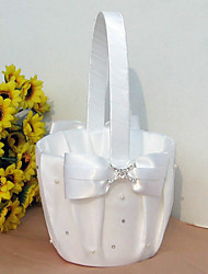 cheap -Flower Basket Satin Faux Pearl Rhinestones Bow Wedding Ceremony
