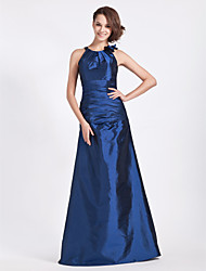 cheap -A-Line / Princess Jewel Neck Floor Length Taffeta Bridesmaid Dress with Side Draping / Ruched / Flower by
