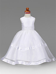 cheap -A-Line Princess Floor Length Flower Girl Dress - Organza Taffeta Sleeveless Jewel Neck by LAN TING BRIDE®