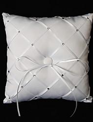 travesseiro anel branco de cetim com strass e arco