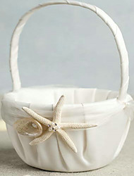 cheap -Beach Themed Starfish Design Ivory Satin Flower Girl Basket