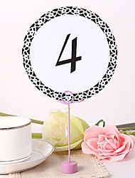 cheap -Round Table Number Card - Black Elegant Flower