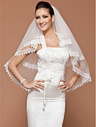 Wedding Veil One-tier Fingertip Veils Lace Applique Edge 31.5 in (80cm) Tulle White IvoryA-line, Ball Gown, Princess, Sheath/ Column,
