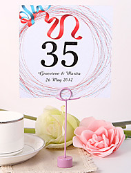 cheap -Personalized Square Table Number Card - Red Ribbon