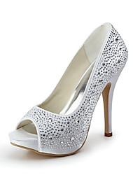 Χαμηλού Κόστους -Γυναικεία Παπούτσια Σατέν Άνοιξη / Καλοκαίρι Τακούνι Στιλέτο / Πλατφόρμα Τεχνητό διαμάντι Ροζ / Αμύγδαλο / Κρύσταλλο / Γάμου