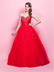 cheap -Ball Gown Princess Strapless Sweetheart Floor Length Tulle Prom Formal Evening Quinceanera Sweet 16 Dress with Beading Crystal Brooch