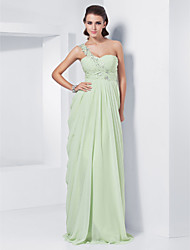 cheap -Sheath / Column One Shoulder Floor Length Chiffon Prom / Formal Evening Dress with Appliques by TS Couture®