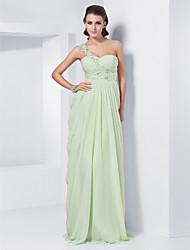 baratos -Tubinho Assimétrico Longo Chiffon Baile de Formatura / Evento Formal Vestido com Apliques de TS Couture®