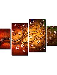 Hånd-malede Blomstret/Botanisk Fire Paneler Canvas Hang-Painted Oliemaleri For Hjem Dekoration