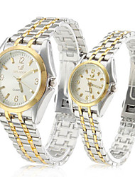 Pair of Alloy Analog Quartz Couple's Watches with Silver Face (Silver and Gold) Cool Watches Unique Watches Strap Watch