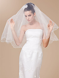 Voiles de Mariée Une couche Voiles bout du doigt Bord festonné Bord perlé 47.24 in (120 cm) Tulle BlancA-ligne, Robe de bal, Princesse,