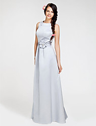 cheap -A-Line Princess Bateau Neck Floor Length Satin Bridesmaid Dress with Sash / Ribbon Flower by LAN TING BRIDE®