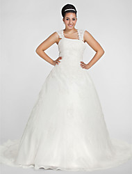cheap -Ball Gown Square Neck Chapel Train Organza Plus Size Wedding Dress by LAN TING BRIDE®
