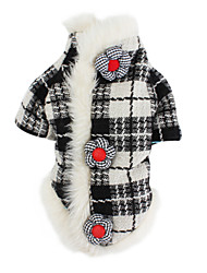 cheap -Dog Coat Dog Clothes Classic Keep Warm Plaid/Check Black/White Costume For Pets
