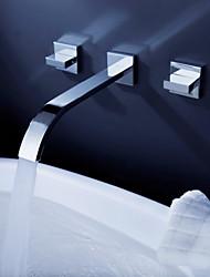abordables -Moderne Montage mural Jet pluie Soupape céramique 3 trous Deux poignées trois trous Chrome, Robinet lavabo