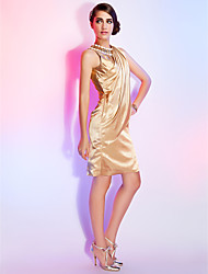 Sheath / Column Jewel Neck Knee Length Stretch Satin Cocktail Party Dress with Crystal Detailing Side Draping by TS Couture®
