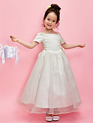 A-Line Princess Ankle Length Flower Girl Dress - Satin Short Sleeves Off-the-shoulder by LAN TING BRIDE®