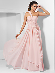 cheap -A-Line / Princess One Shoulder / Sweetheart Neckline Floor Length Chiffon Dress with Draping / Criss Cross / Ruched by LAN TING BRIDE®