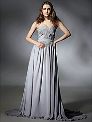A-Line Strapless Sweetheart Sweep / Brush Train Chiffon Prom Formal Evening Dress with Beading Draping Side Draping Pleats by TS Couture®