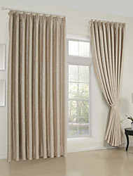 cheap -Rod Pocket Grommet Top Tab Top Double Pleat Two Panels Curtain Neoclassical , Embossed Solid Living Room 65% Rayon/35%Polyester Rayon