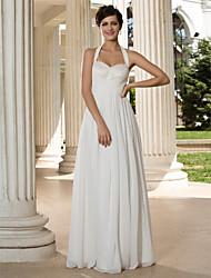 preiswerte -A-Linie Halter Boden-Länge Chiffon Hochzeitskleid mit Paillette Überkreuzte Rüschen durch LAN TING BRIDE®