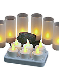 Warm Yellow Light LED Rechargeable Flameless Candles Light (6Pcs/Pack)