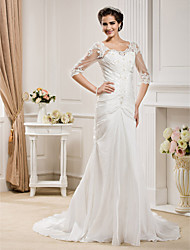 cheap -Mermaid / Trumpet Scoop Neck Chapel Train Taffeta Wedding Dress with Beading Appliques Ruche by LAN TING BRIDE®
