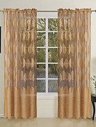 cheap -Rod Pocket Grommet Top Tab Top Double Pleat Curtain Designer , Jacquard Leaf Dining Room 65% Rayon/35%Polyester Rayon Material Home
