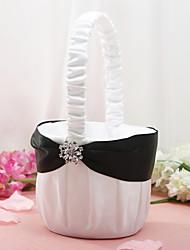 Недорогие -цветочные корзины в белом атласе с горный хрусталь цветок девушка корзины