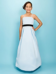 A-Line Princess Spaghetti Straps Floor Length Satin Junior Bridesmaid Dress with Bow(s) Draping Sash / Ribbon by LAN TING BRIDE®