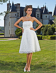 A-Line Princess Strapless Knee Length Lace Wedding Dress with Sash / Ribbon Flower by LAN TING BRIDE®