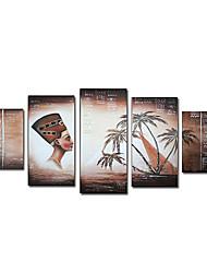 Handgemalte Landschaft / Menschen Fünf Panele Leinwand Hang-Ölgemälde For Haus Dekoration